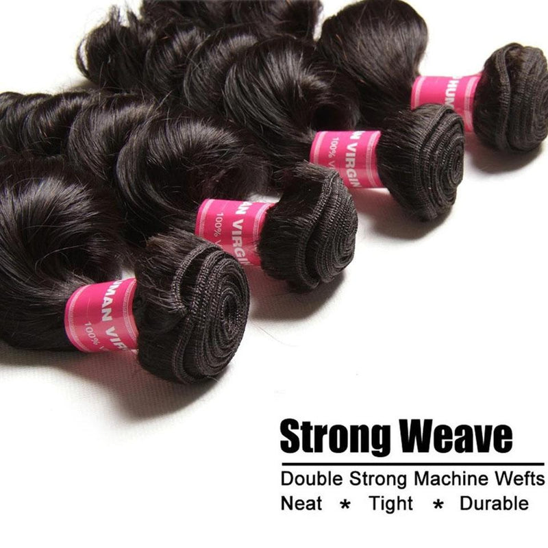 Loose Wave Hair 4 Bundles With 4*4 Lace Closure Human Virgin Hair Extension - Truelovewigs.com