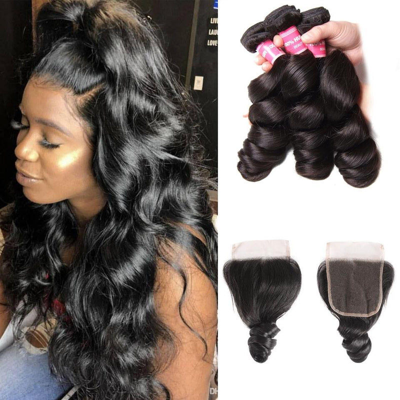 Loose Wave Hair 3 Bundles With 4*4 Lace Closure, Unprocessed Human Hair Extension - Truelovewigs.com