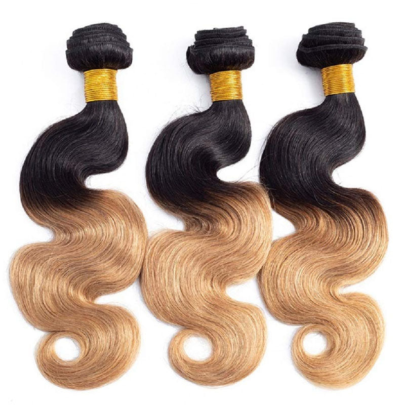 Colored Bundles with Closure Swiss Lace Closure 3 Bundles of Body Wave Hair with Closure #T1b/27 - Truelovewigs.com