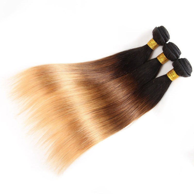 Ombre Human Hair Bundles with Closure 3 Bundles with Straight Closure #T1b/4/27 Swiss Lace Closure - Truelovewigs.com