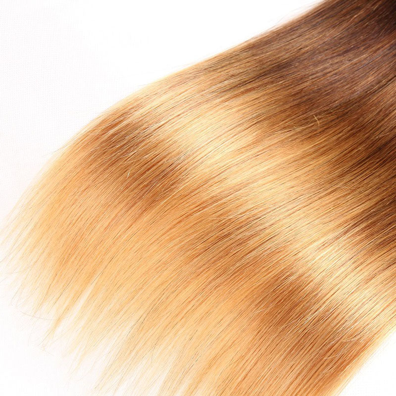 Colored Weave Bundles 3 Bundles of Ombre Hair Weave Bundles Best 1b/4/27 Hair Straight 10A High Quality100% Human Hair - Truelovewigs.com