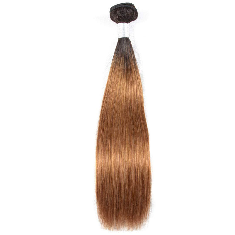 Ombre Bundles with Frontal 3 Bundles with Frontal 13x4 Human Straight Hair Bundles with Frontal T1b/30 - Truelovewigs.com
