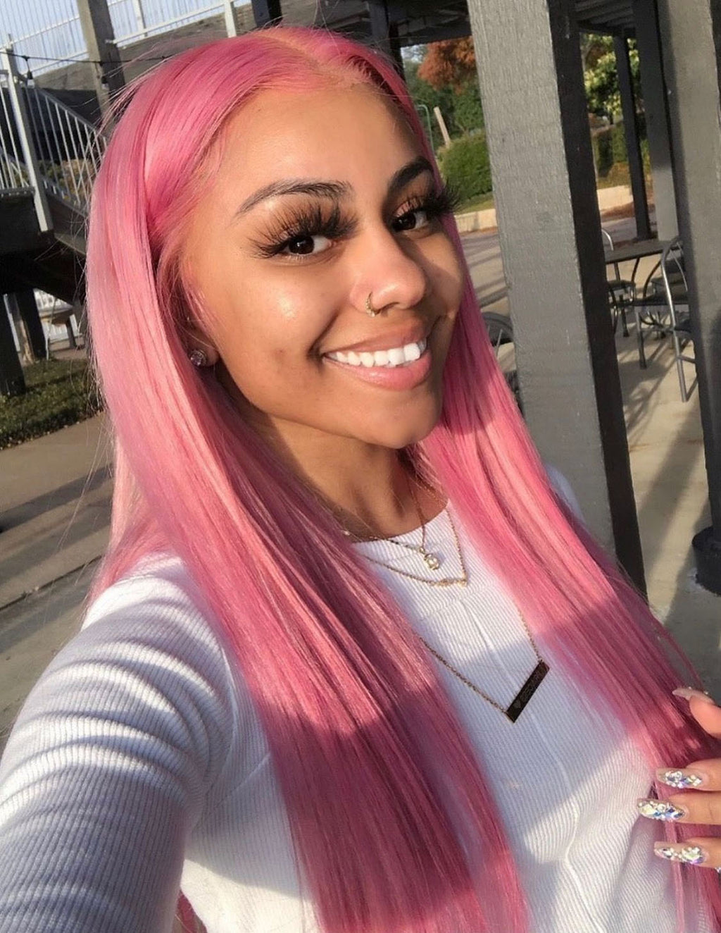 New Arrival Pink Ombre Wig 100% Human Remy Hair Hairstyle and Color The Same As The Model in The Picture - Truelovewigs.com