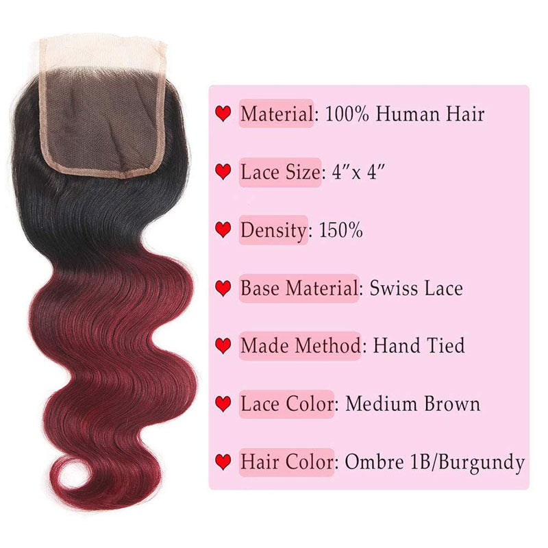 Burgundy Bundles with Closure 99j Bundles with Closure 3 Bundles of Body Wave #T1b/99j 10A Swiss Lace Closure - Truelovewigs.com