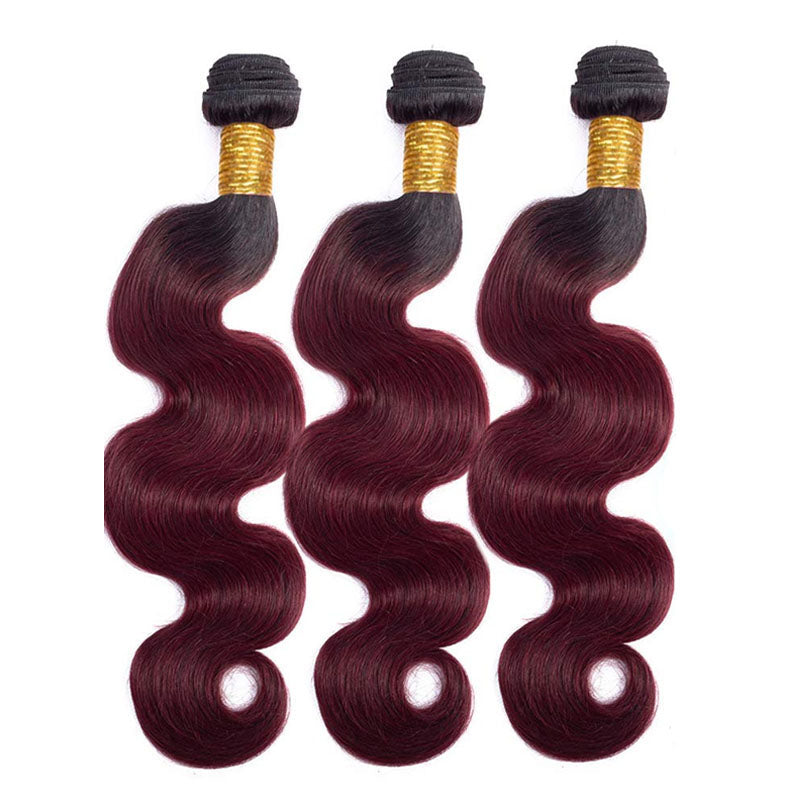 3 Bundles of Red Hair Bundles Best Red Human Hair Bundles 99j Bundles Ombre Body Wave 10A 100% Human Hair - Truelovewigs.com