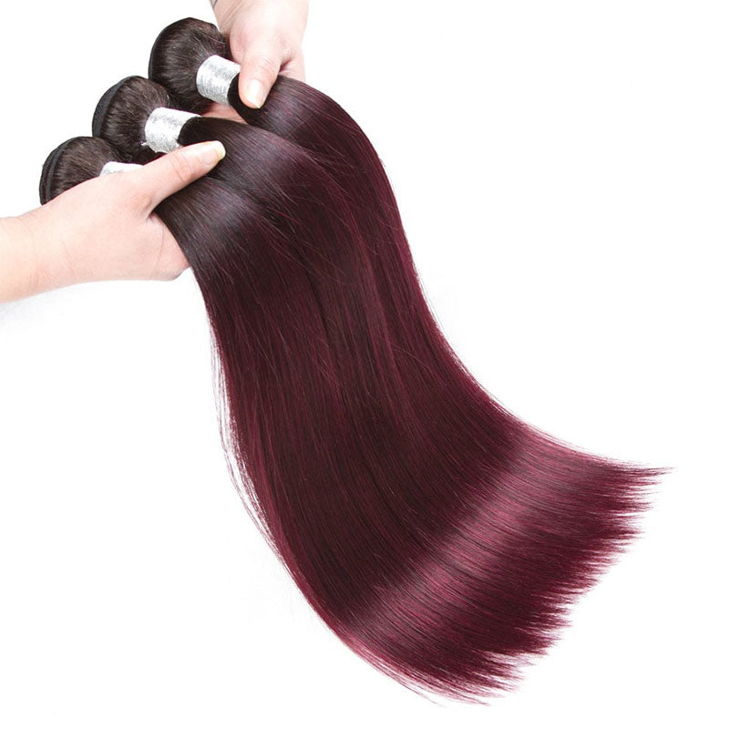 3 Bundles of Burgundy Bundles Best Burgundy Hair Weave 99j Bundles Straight 10A High Quality 100% Human Hair - Truelovewigs.com