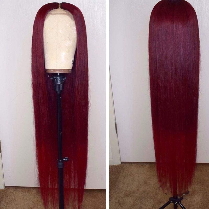 Burgundy Human Hair Wig with Pre Plucked 13x4 Pre Plucked 10A Straight Burgundy Lace Front Wig - Truelovewigs.com