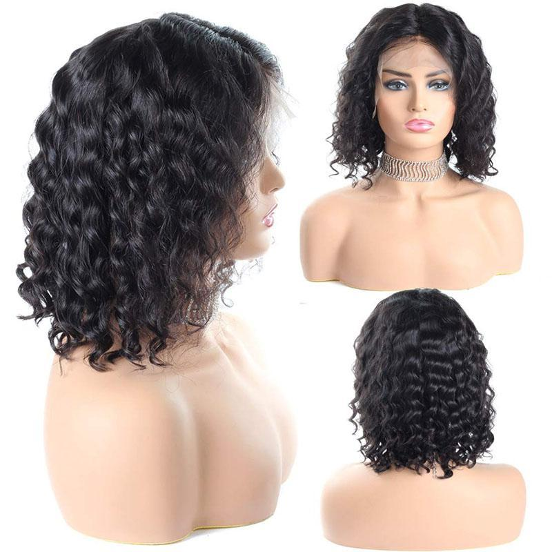 Bob Wigs for Black Women 100% Human Hair Curly Bob Wig 10A Hair 13x4 Lace Front Wigs - Truelovewigs.com