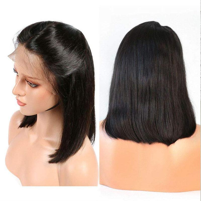 Straight Bob Wig for Black Women 100% Human Hair Middle Part 10A Remy Hair 13x4 Lace Front Wigs - Truelovewigs.com