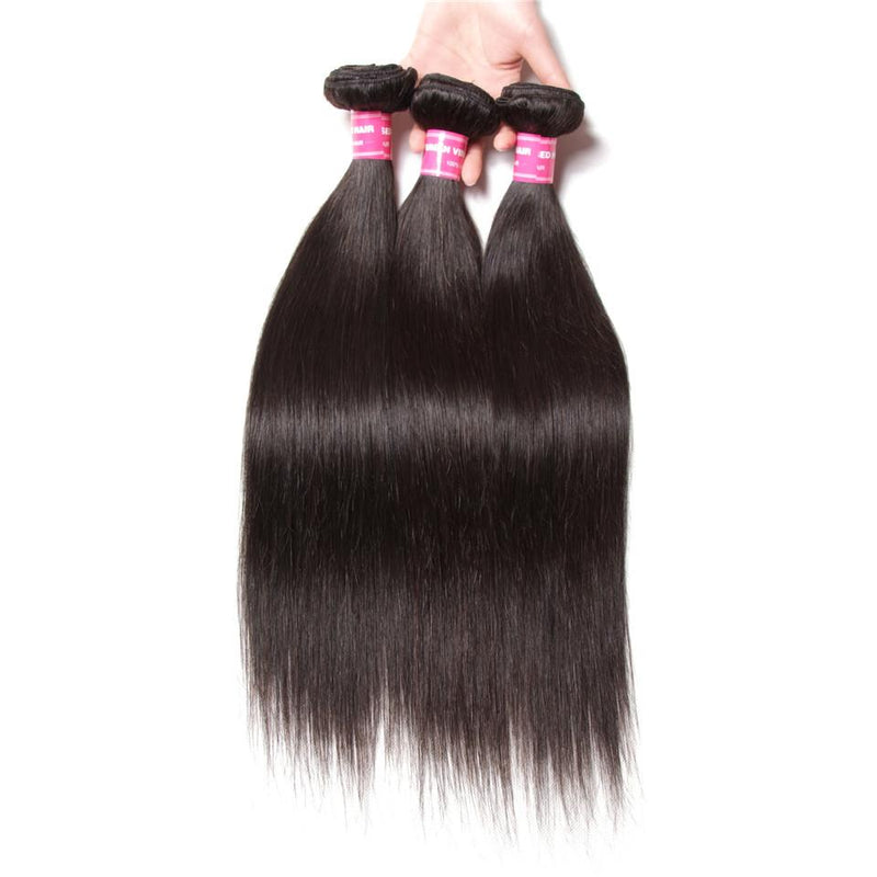 Straight Hair 3 Bundles With 4*4 Lace Closure, Unprocessed Human Hair Extension - Truelovewigs.com