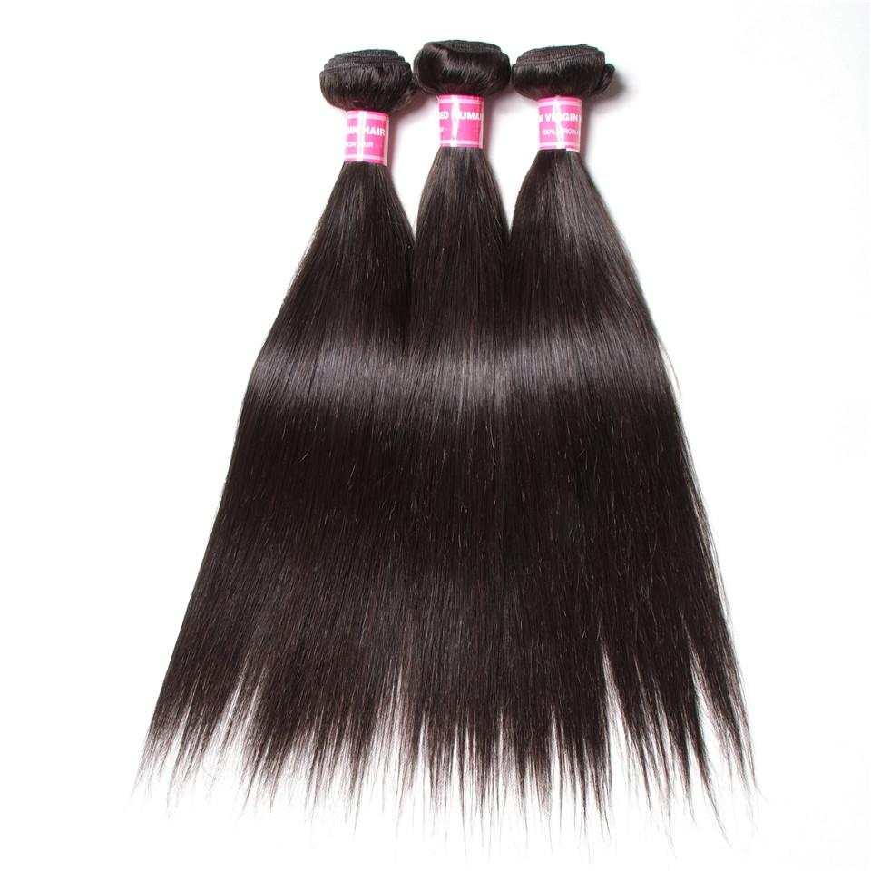 Straight Hair 3 Bundles With 13*4 Lace Frontal 100% Human Hair Top Quality - Truelovewigs.com