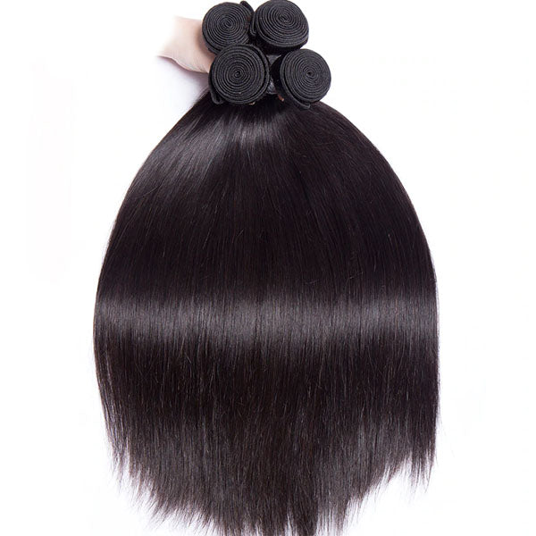 360 Closure with Bundles 10A Top Quality 2 Bundles with Frontal Straight 100% Human Hair Natural Color - Truelovewigs.com