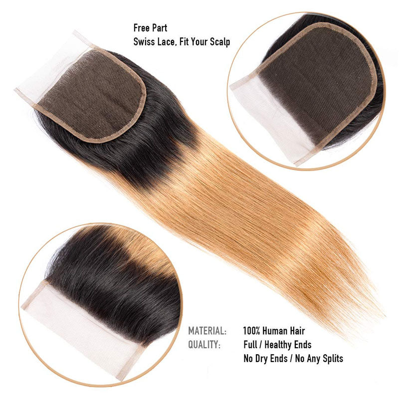Colored Hair Bundles with Closure 3 Bundles of Straight Hair with Closure Swiss Lace Closure #T1b/27 - Truelovewigs.com