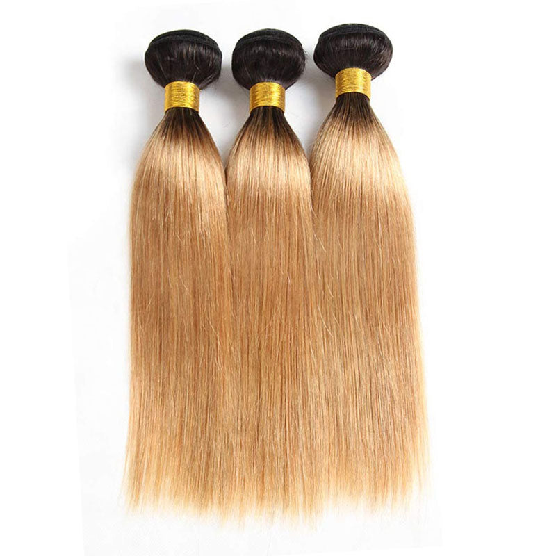 3 Bundles of Light Brown Weave Bundles Best 1b 27 Hair Straight Hair Bundles 10A High Quality 100% Human Hair - Truelovewigs.com