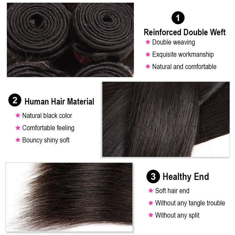 Straight Hair 4 Bundles With 13*4 Lace Frontal Human Virgin Hair Extension - Truelovewigs.com