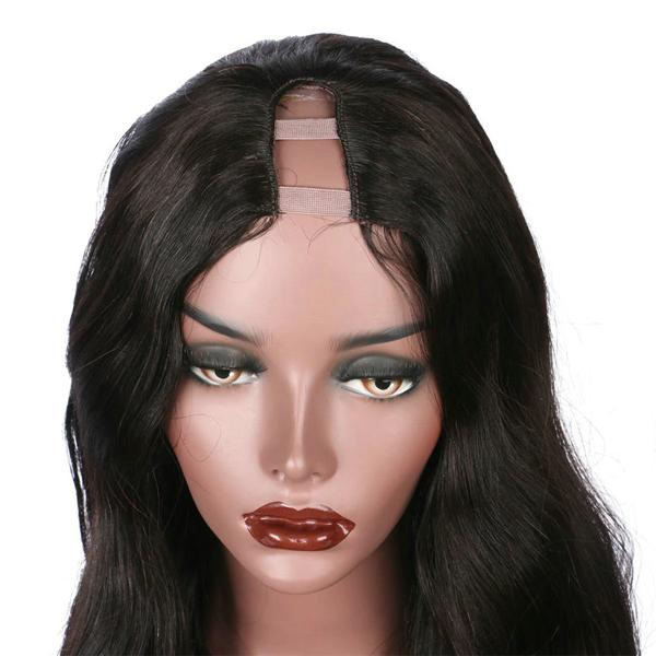 Human Hair U Part Wig Pre Plucked Hairline With Baby Hair Body Wave Wigs 10A Hair Natural Color - Truelovewigs.com