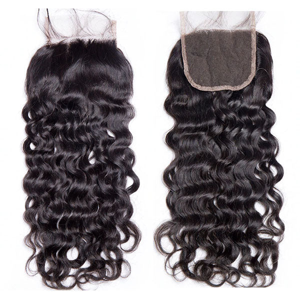 4x4 Lace Closure Middle Part Water Wave Closure 100% Human Hair Lace Closure Natural Color - Truelovewigs.com