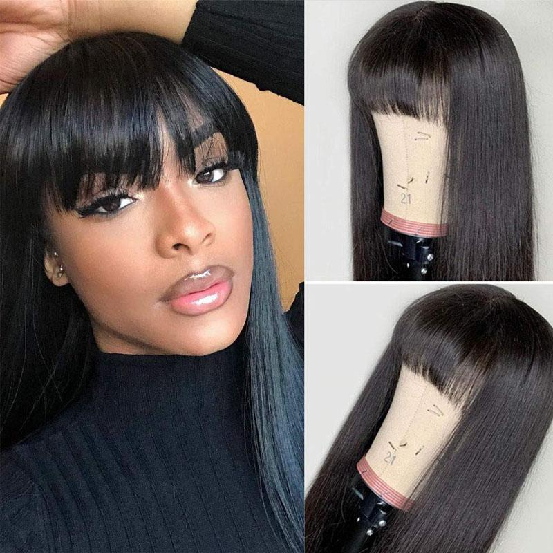 Human Hair Wigs with Bangs for African American 13x4 Lace Front Wigs Straight Wig with Bangs 10A Hair - Truelovewigs.com