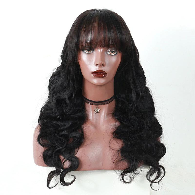 Human Hair Wigs with Bangs 13x4 Lace Front Wigs with Bangs Body Wave Pre Plucked Hairline 10A Hair - Truelovewigs.com