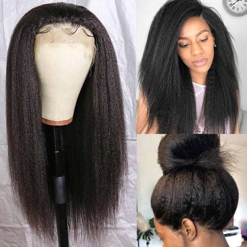 Yaki Closure Wigs Human Hair Wigs Pre Plucked Hairline 4x4 With Baby Hair Yaki Straight Wig - Truelovewigs.com
