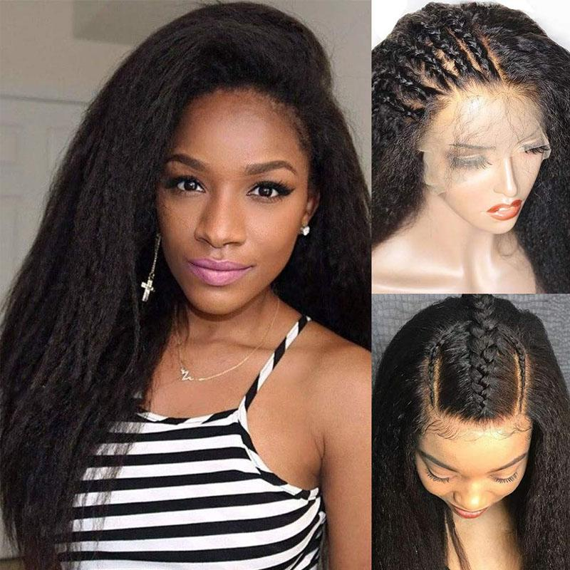 Yaki Transparent Lace Front Wig 10A Human Hair Wigs Pre Plucked Hairline 13x6 With Baby Hair Yaki Straight Wig - Truelovewigs.com