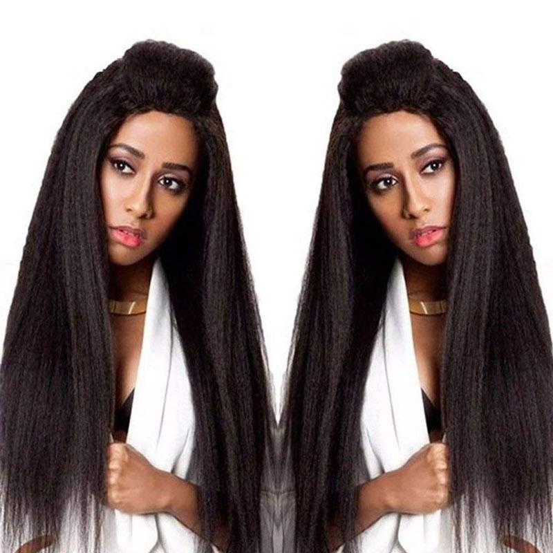 Yaki Lace Front Wig Human Hair Wigs Pre Plucked Hairline 13x4 With Baby Hair Yaki Straight Wig - Truelovewigs.com