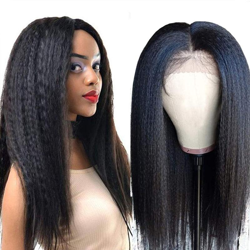Yaki Glueless Lace Front Wigs Human Hair Wigs Pre Plucked Hairline 13x4 With Baby Hair Yaki Straight Wig - Truelovewigs.com