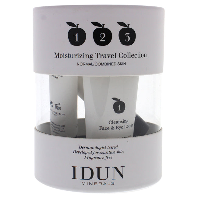 Moisturizing Travel Collection Kit by Idun Minerals for Women - 3 Pc 1oz Cleansing Face and Eye Lotion, 0.5oz Moisturizing Serum, 0.5oz Day Cream