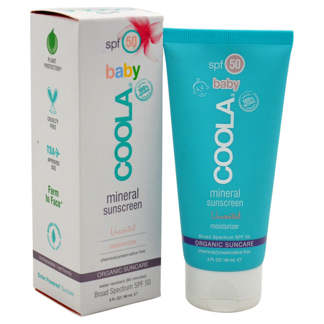 Mineral Baby Sunscreen Moisturizer SPF 50 - Unscented by Coola for Kids - 3 oz Sunscreen