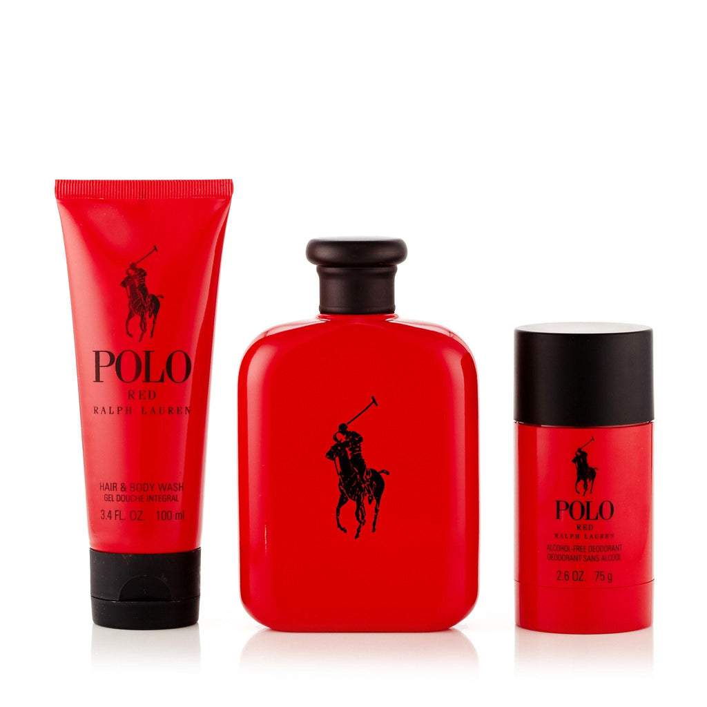 Polo Red Gift Set EDT, Body Wash and Deodorant for Men by Ralph Lauren 4.2 oz.