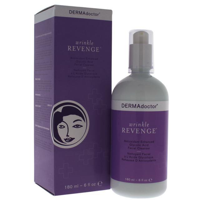 Wrinkle Revenge Antioxidant Enhanced Glycolic Acid Facial Cleanser by DERMAdoctor for Women - 6 oz Cleanser