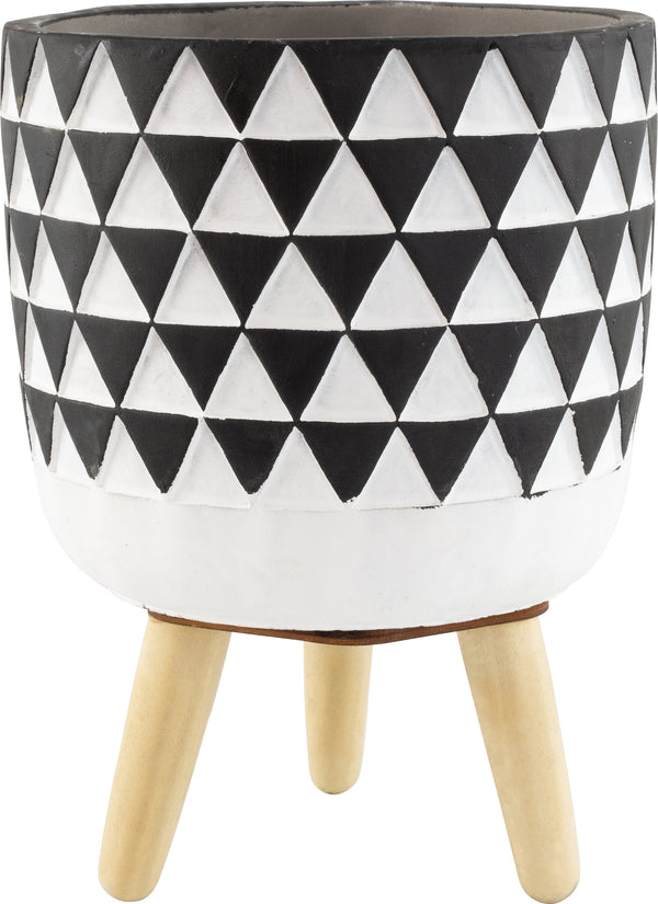 Marrakesh Mosaic Pot With Wooden Legs