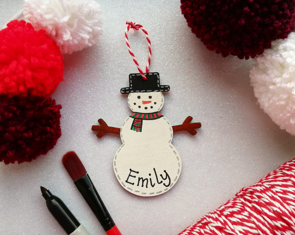 Personalised Christmas Snowman Hanging Tree Decoration
