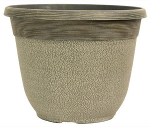 Crackle Planter 30cm - Concrete Grey
