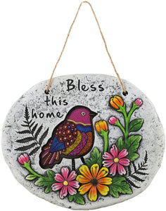 Cement Hanging Bless This Home Plaque Home Or Garden Flowers