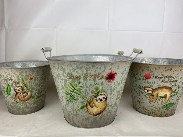 Metal Bucket Sloth Design Set Of 3