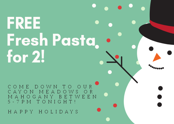 Day 5 - FREE Fresh Pasta for 2!