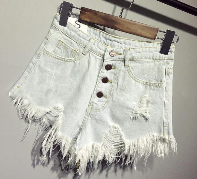 Denim Fur-lined Leg-openings Shorts