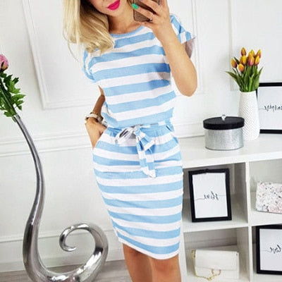 Solid O-neck Short Sleeves Lacing Dresses