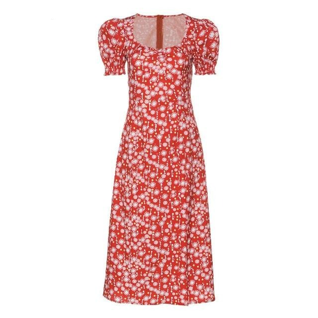 Floral Print Square Collar Dresses