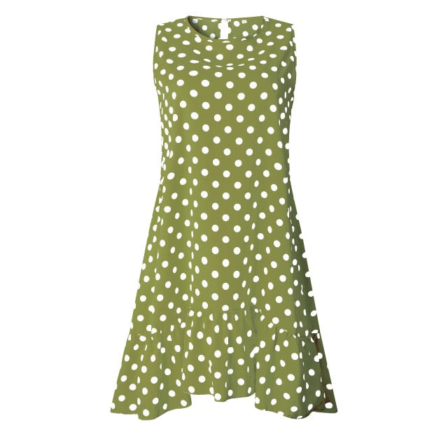 Polka Dot Chiffon Sleeveless Dress