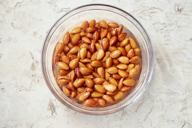 soaked almonds in bowl