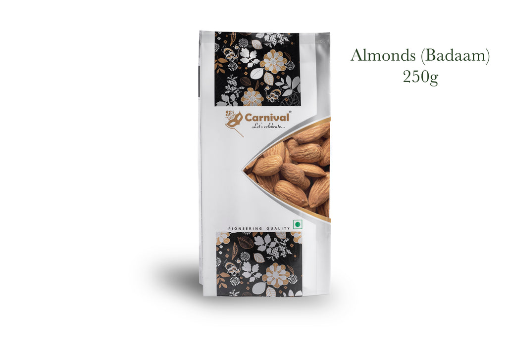 Packet of almonds on white background