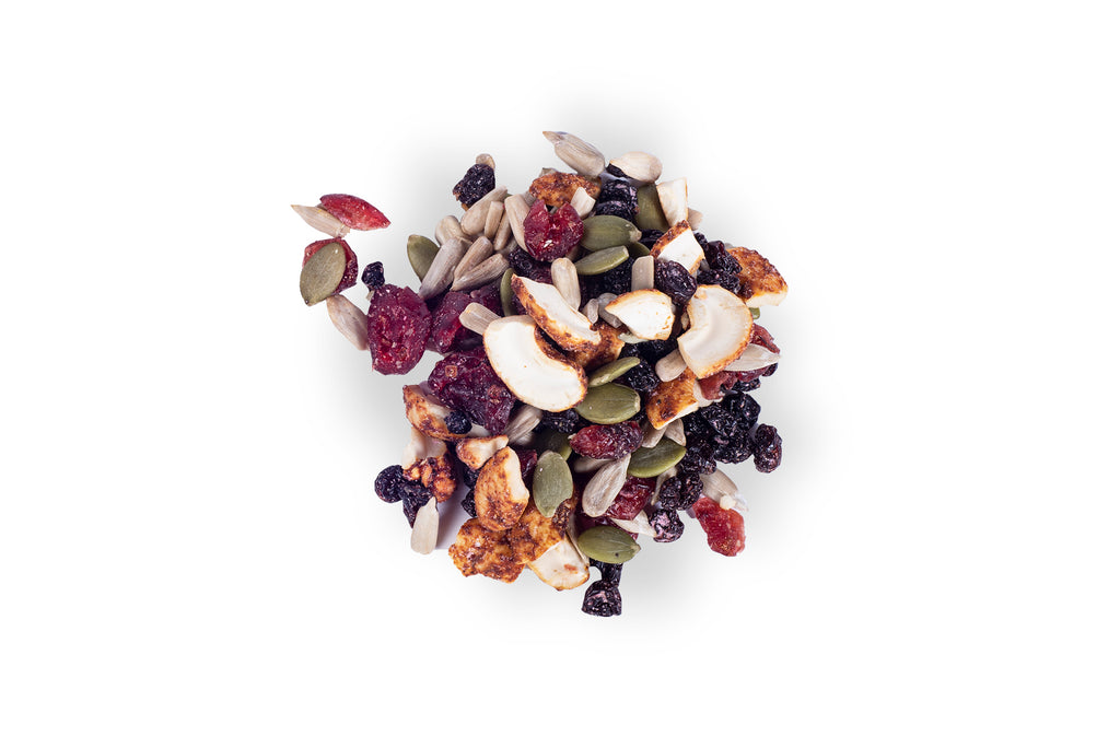 berry bbq trail mix on a white background