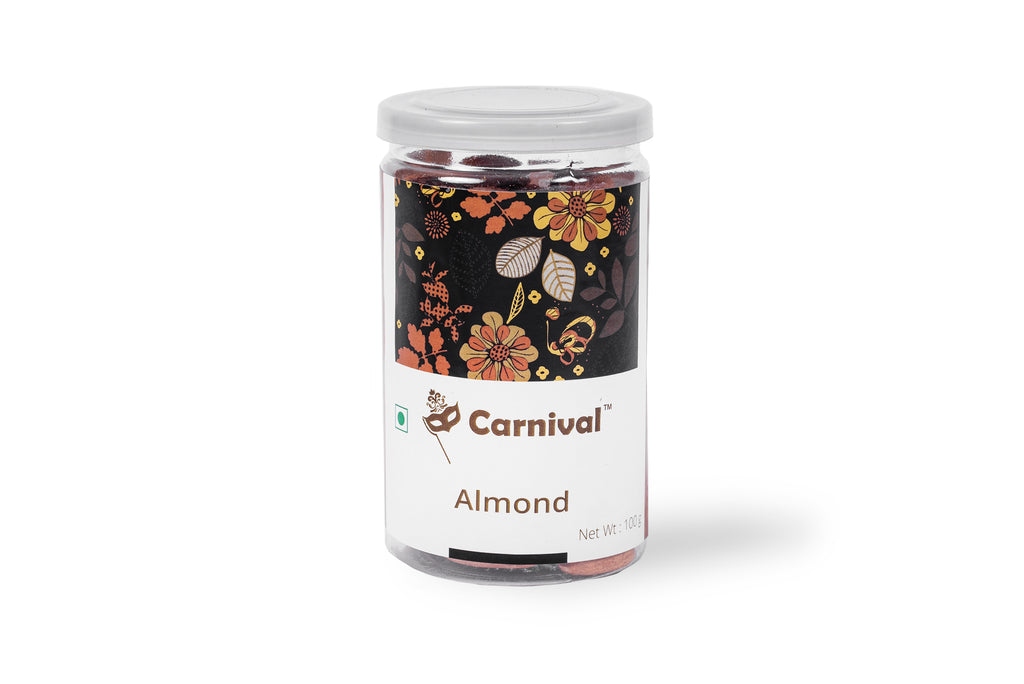 100g jar of almonds on a white background