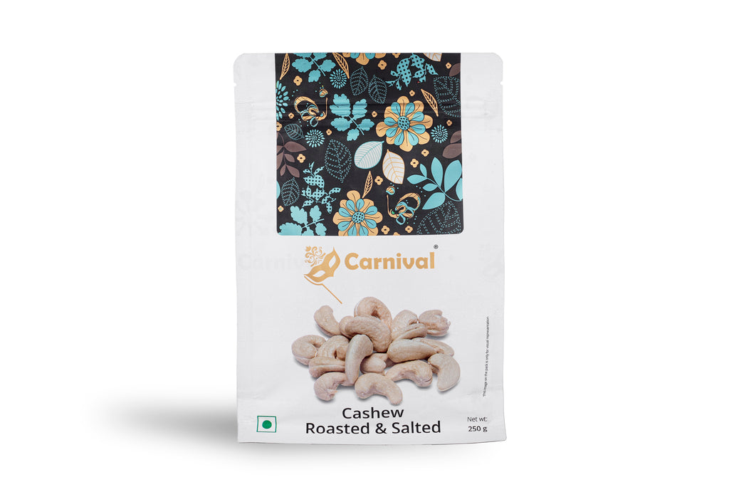 250g pack of cashews on a white background
