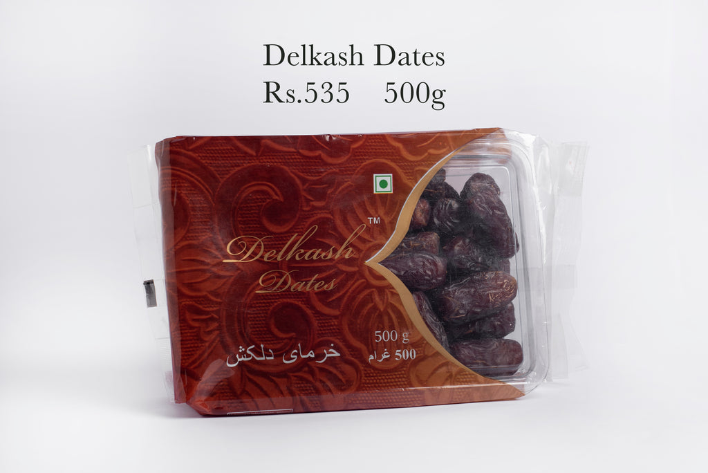 500g package of delkash dates on a white background