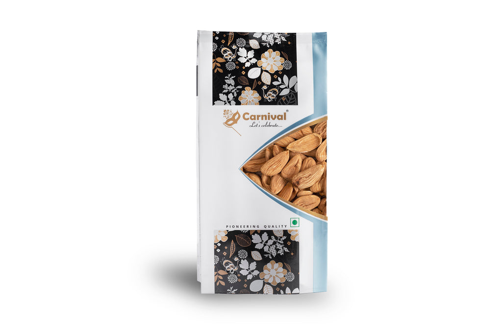 250g pack of deluxe mamra almonds on a white background