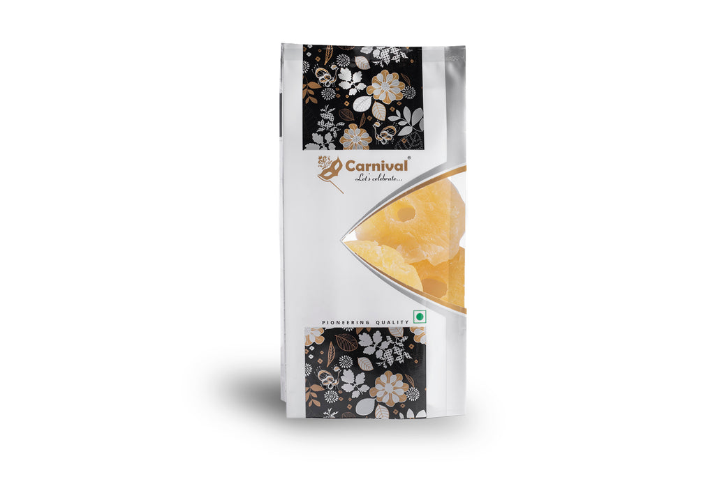 250g pack of dried pineapple on a white background