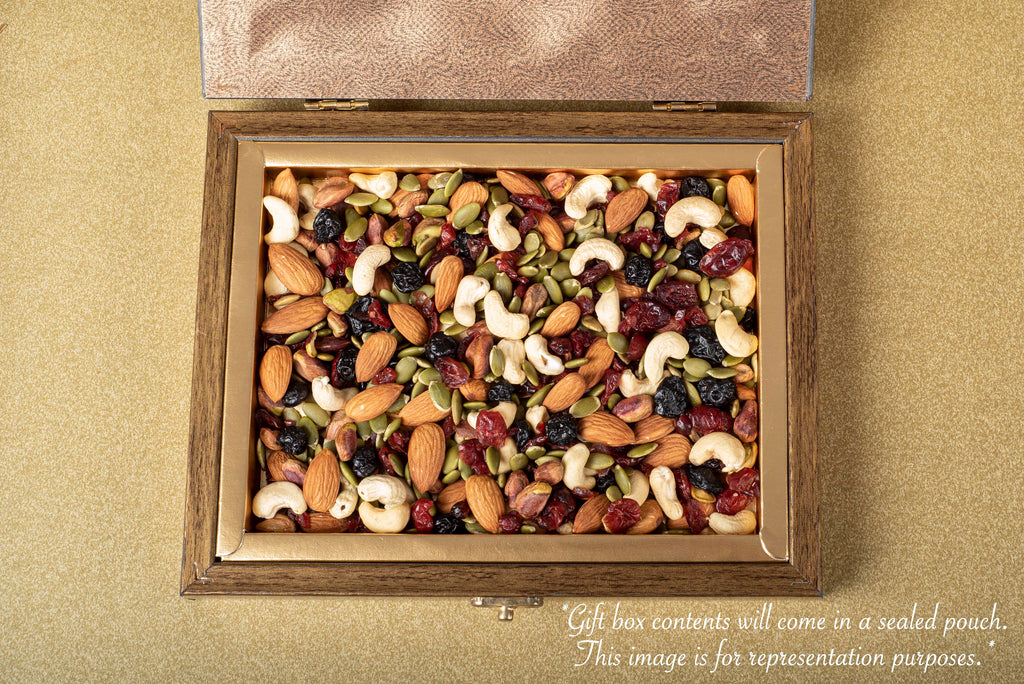 Carnival mixed nuts and berries for ganpati wooden gift box